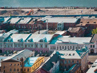 Волга, Рождественская и прилегающие набережные на слиянии великих рек